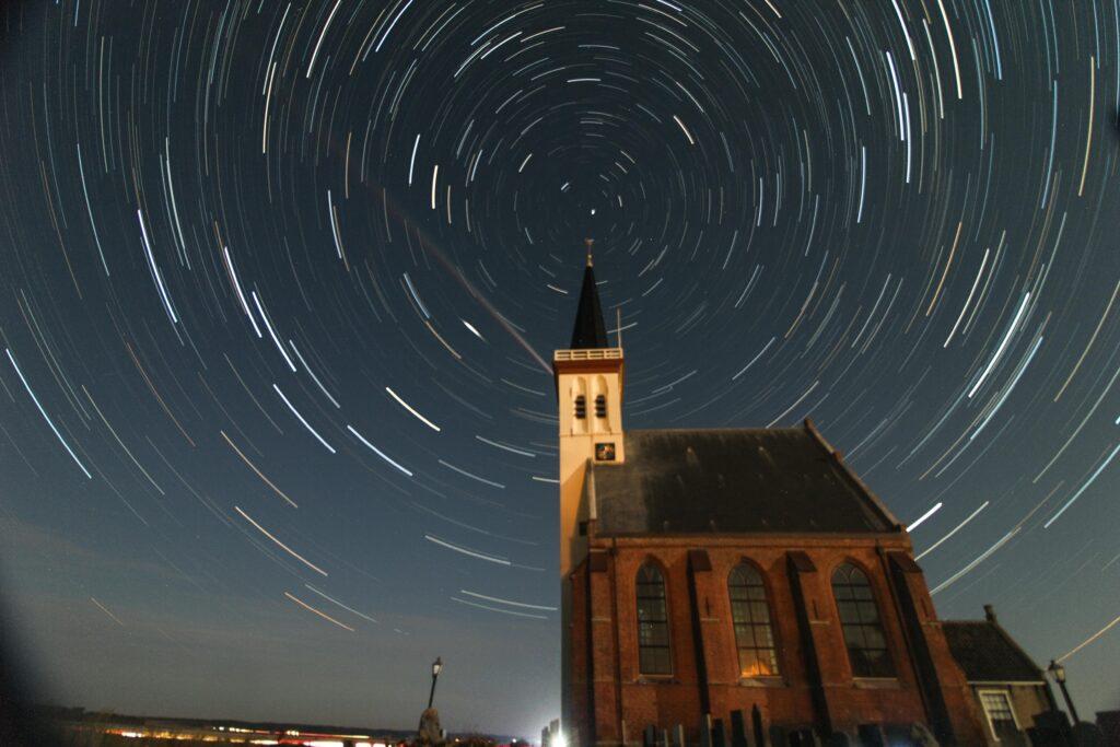 Star lapse church Den Hoorn Texel
