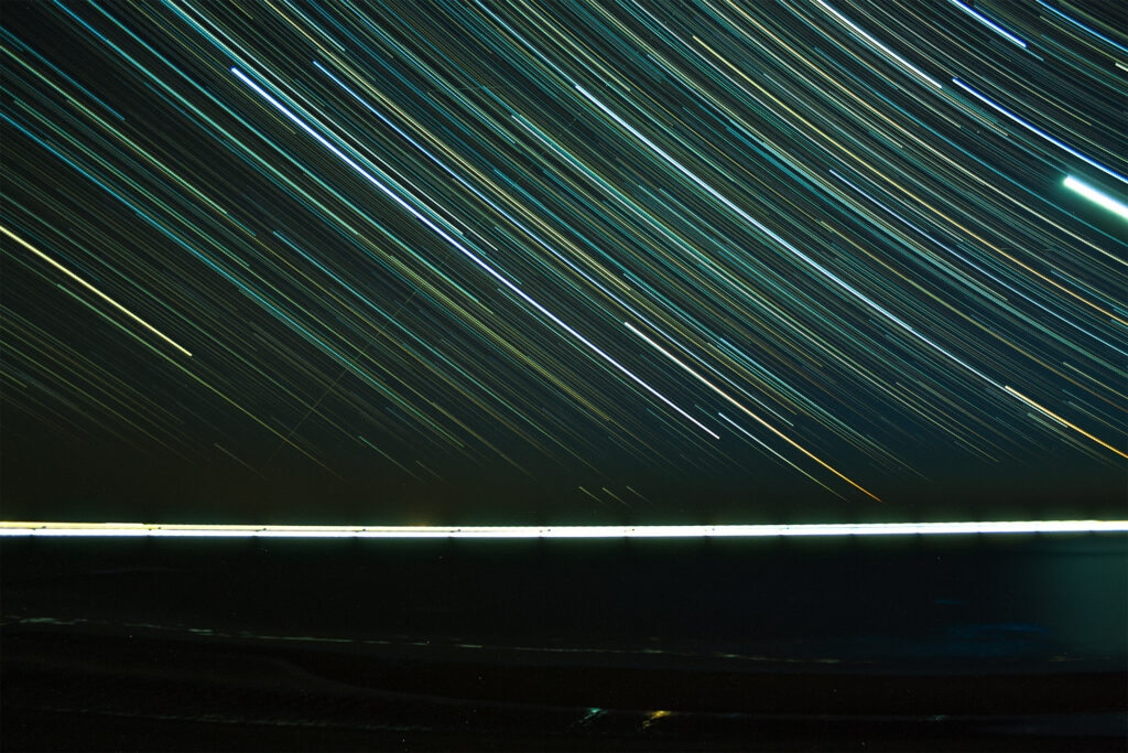 Star lapse of sea at 'paal 9' Texel